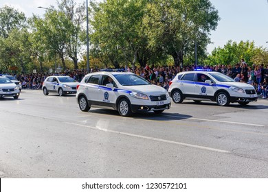 Thessaloniki, Greece - October 28 2018: Hellenic Police cars during Oxi Day parade. Greek police - Ellinikii Astynomia Security forces vehicles with personnel at national day celebration parade.