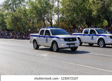 Thessaloniki, Greece - October 28 2018: Hellenic Police Pick up cars during Oxi Day parade. Greek police - Ellinikii Astynomia Security forces trucks with personnel at national day celebration parade.