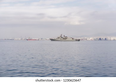 Thessaloniki, Greece - October 28 2018: Greek frigade Hydra at sea. The flagship of the Hellenic Navy, Greek Hydra-class frigade close to Thessaloniki waterfront, during national day military parade.