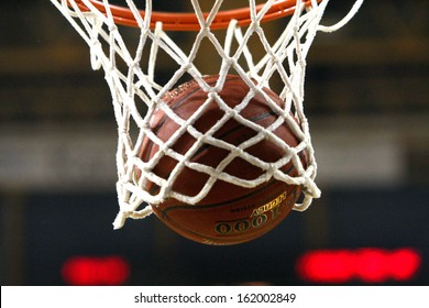 THESSALONIKI, GREECE - OCTOBER 30: PAOK BC vs TED Ankara EuroCup, Balls in the net of a Basetball hoop on October 30 in PAOK Sports Arena,Thessaloniki,Greece