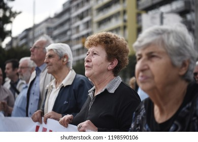 Thessaloniki, Greece - October 9, 2018. Pensioners hold a banner as they take part in a protest against more pension cuts by the Greek government.