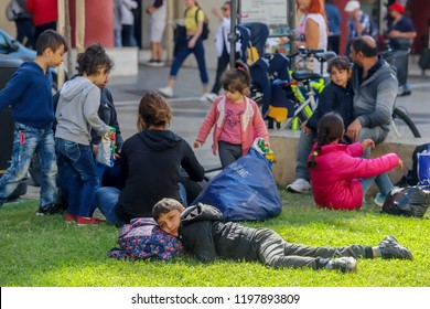 Thessaloniki , Greece - Okt 8, 2018: refugees and migrants have gathered in Aristotelous Square waiting to be formally arrested and gain temporary residence in the European Union country.