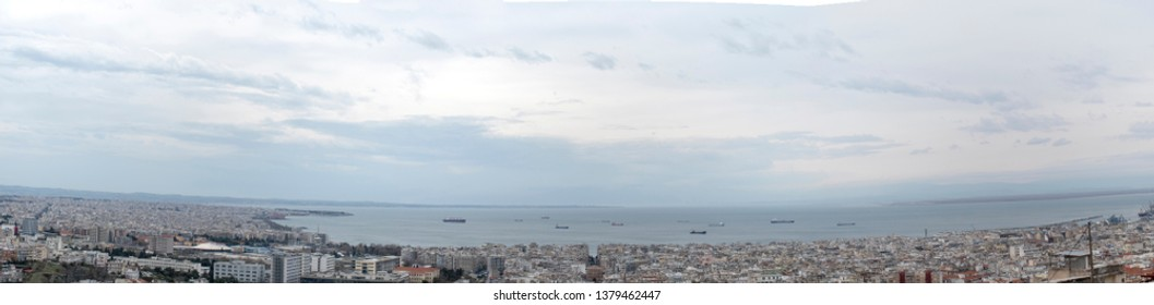 Thessaloniki Greece panoramic view from the church of St.Paul the Apostle