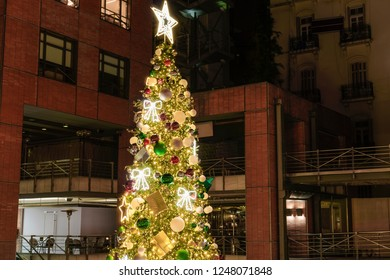 Thessaloniki, Greece - Plateia central mall Christmas tree 2018.The decorated Christmas tree at Plateia shopping mall in the center of Thessaloniki.