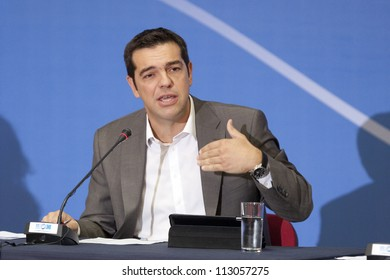 THESSALONIKI, GREECE - SEPT 16: Syriza leader Alexis Tsipras press conference of 77th Thessaloniki International Fair in the northern port city of Thessaloniki on Sept 16, 2012 in Thessaloniki,Greece.