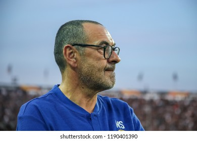 Thessaloniki, Greece - Sept 20, 2018: The coach of Chelsea Maurizio Sarri during the UEFA Europa League between PAOK vs FC Chelsea played at Toumba Stadium