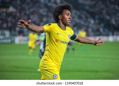 Thessaloniki, Greece - Sept 20, 2018: Player of Chelsea Willian Borges da Silva in action during the UEFA Europa League between PAOK vs FC Chelsea played at Toumba Stadium