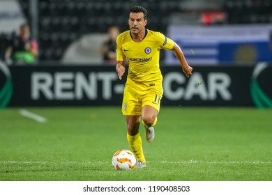 Thessaloniki, Greece - Sept 20, 2018: Player of Chelsea Pedro Rodriguez in action during the UEFA Europa League between PAOK vs FC Chelsea played at Toumba Stadium