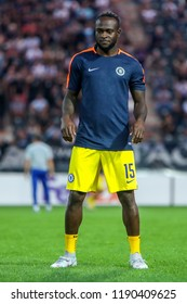 Thessaloniki, Greece - Sept 20, 2018: Player of Chelsea Victor Moses in action during the UEFA Europa League between PAOK vs FC Chelsea played at Toumba Stadium