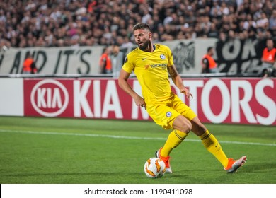 Thessaloniki, Greece - Sept 20, 2018: Player of Chelsea Olivier Giroud in action during the UEFA Europa League between PAOK vs FC Chelsea played at Toumba Stadium