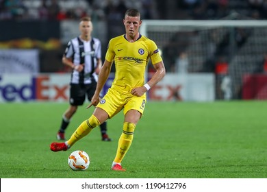 Thessaloniki, Greece - Sept 20, 2018: Player of Chelsea Ross Barkley in action during the UEFA Europa League between PAOK vs FC Chelsea played at Toumba Stadium
