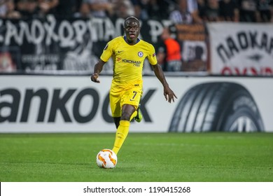 Thessaloniki, Greece - Sept 20, 2018: Player of Chelsea N'Golo Kante in action during the UEFA Europa League between PAOK vs FC Chelsea played at Toumba Stadium