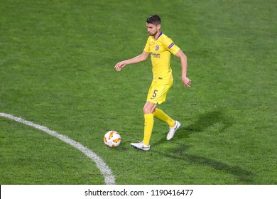 Thessaloniki, Greece - Sept 20, 2018: Player of Chelsea Jorginho (Jorge Luiz Frello Filho) in action during the UEFA Europa League between PAOK vs FC Chelsea played at Toumba Stadium