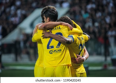 Thessaloniki, Greece - Sept 20, 2018: Players of Chelsea they are celebrating during the UEFA Europa League between PAOK vs FC Chelsea played at Toumba Stadium