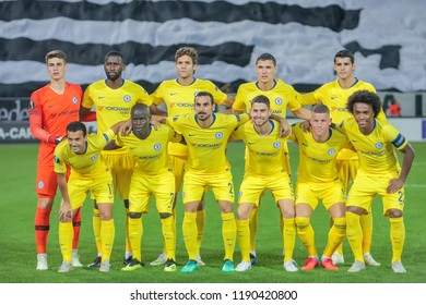 Thessaloniki, Greece - Sept 20, 2018: Players of Chelsea during the UEFA Europa League between PAOK vs FC Chelsea played at Toumba Stadium