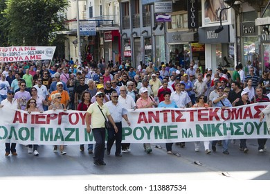 THESSALONIKI, GREECE - SEPT 26:  Greek protesters of of the General Confederation of Greek Workers demonstrate against yet more job cuts and tax hikes on September 26, 2012 in Thessaloniki,Greece.