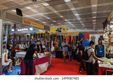 Thessaloniki, Greece - September 08 2019: Inside 84rth International fair pavilions with crowd. Fair takes place from 7 to 15 September 2019. India is the honoured country this year.