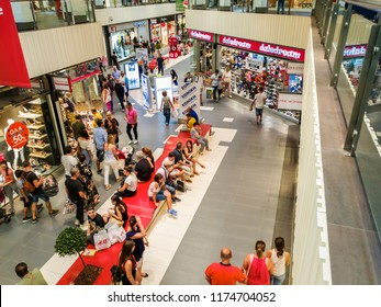 Thessaloniki, Greece - September 09 2018: Mediterranean Cosmos Mall internal view. Unidentified customers inside shopping area of one of the largest malls in The Balkans.