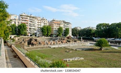 Thessaloniki, Greece - September 10, 2015: Roman Agora Thessaloniki