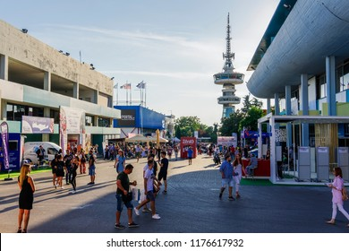 Thessaloniki, Greece - September 10 2018: Inside 83rd International fair with crowd. Fair takes place from 8 to 16 September 2018. USA is the honored country this year.
