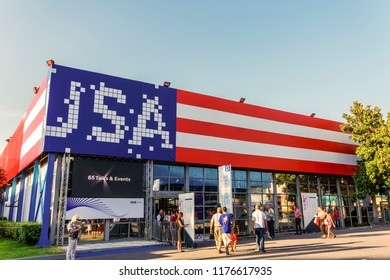 Thessaloniki, Greece - September 10 2018: USA Pavilion facade painted with flag colors inside 83rd International fair. Fair takes place from 8 to 16 September 2018. USA is honored country this year.
