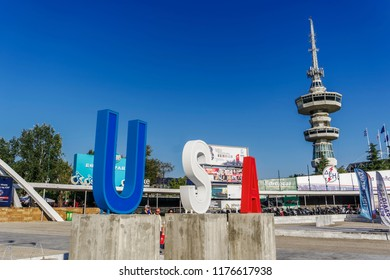 Thessaloniki, Greece - September 10 2018: Entrance to 83rd International fair with large USA sign. Fair takes place from 8 to 16 September 2018. USA is the honored country this year.