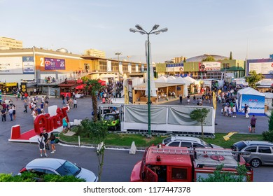 Thessaloniki, Greece - September 10 2018: Inside 83rd International fair pavilions with crowd. Fair takes place from 8 to 16 September 2018. USA is the honored country this year.