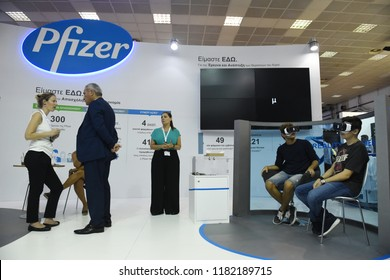 Thessaloniki, Greece - September 10, 2018. People visit the Pfizer exhibition stand in Thessaloniki International Trade Fair 2018