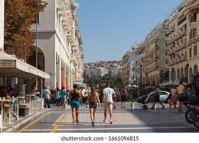 THESSALONIKI, GREECE - SEPTEMBER 10, 2018: Street view of down town with tourists