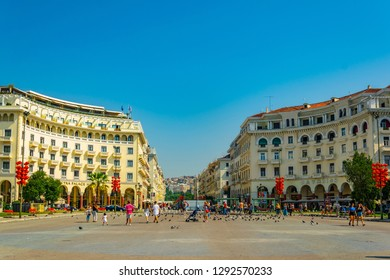 THESSALONIKI, GREECE, SEPTEMBER 11, 2017: People are walking on the Aristotelous square in Thessaloniki, Greece