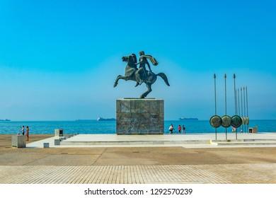 THESSALONIKI, GREECE, SEPTEMBER 11, 2017: Statue of Alexander the Great in Thessaloniki, Greece
