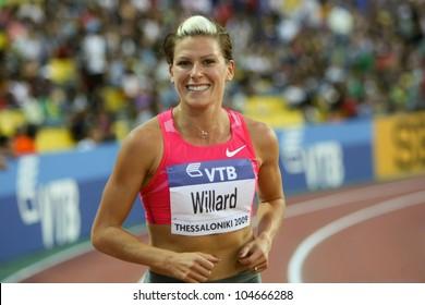 THESSALONIKI, GREECE - SEPTEMBER 12: American runner Anna Willard  celebrates his victory on September 12, 2009 in Kaftatzoglio stadium, Thessaloniki, Greece