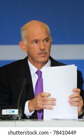 THESSALONIKI, GREECE - SEPTEMBER 12: Greek primeminister George Papandreou press conference for the 2010 HELEXPO on September 12, 2010 in Thessaloniki, Greece.