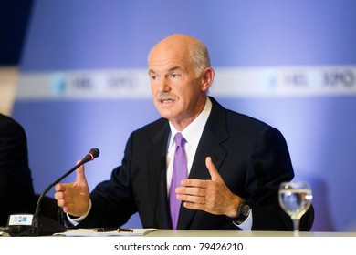 THESSALONIKI, GREECE - SEPTEMBER 12: Greek prime minister George Papandreou press conference for the 2010 HELEXPO on SEPTEMBER 12, 2010 in Thessaloniki, Greece.