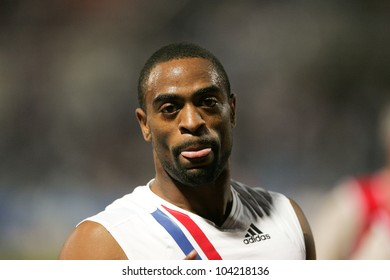 THESSALONIKI, GREECE - SEPTEMBER 12: Tyson Gay after the final Mens 100m celebrates his victory on September 12, 2009 in Kaftatzoglio stadium, Thessaloniki, Greece