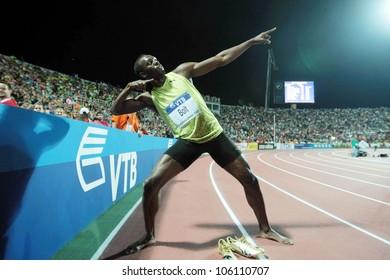 THESSALONIKI, GREECE - SEPTEMBER 12: Usain Bolt finishes first at 100m men for the IAAF World Athletics Finals main event at Kaftatzoglio Stadium on September 11, 2009 in Thessaloniki, Greece
