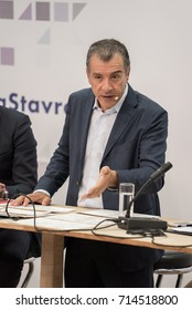 THESSALONIKI, GREECE - SEPTEMBER 13, 2017. Greek Leader of political party Potami Stavros Theodorakis and his team, during news conference at Thessaloniki, during Thessaloniki International Trade Fair