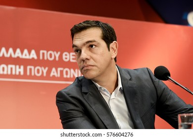 Thessaloniki, Greece - September 14, 2014. Greek Prime Minister Alexis Tsipras during a press conference back in 2014, at the northern Greek city of Thessaloniki.