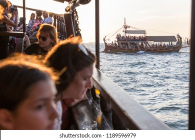 THESSALONIKI, GREECE - SEPTEMBER 15: Passengers are enjoyed a boat bar tour at Thessaloniki gulf on September 15, 2018.