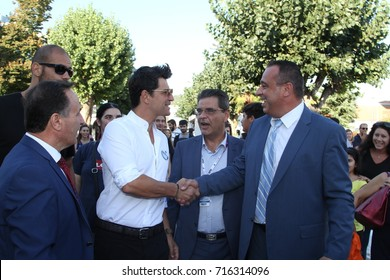 Thessaloniki, Greece - September 16 2017: Singer Sakis Rouvas visited 82nd Thessaloniki International Fair, in Greece.