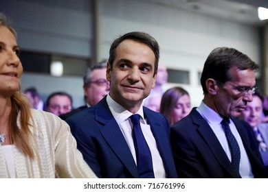 Thessaloniki, Greece - September 16, 2017. Kyriakos Mitsotakis (middle) President of New Democracy before his speech at the Greek city of Thessaloniki, during Thessaloniki International Trade Fair