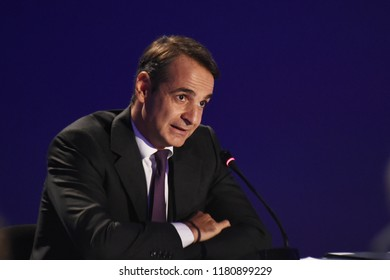 Thessaloniki, Greece - September 16, 2018. Kyriakos Mitsotakis Leader of New Democracy party during a news conference at the Greek city of Thessaloniki, during Thessaloniki International Trade Fair.