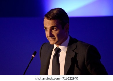 Thessaloniki, Greece - September 17, 2017. Kyriakos Mitsotakis President of New Democracy party during a news conference at the Greek city of Thessaloniki, during Thessaloniki International Trade Fair