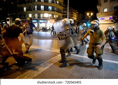 Thessaloniki, Greece - September 18, 2017. Anarchists and police officers are seen clashing during a violent antifascist protest in memory of the Greek rap singer Pavlos Fyssas.