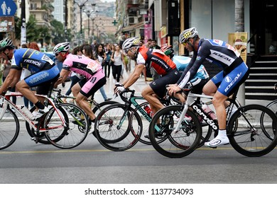 Thessaloniki, Greece - September 20, 2014. Cyclists in action during a race at the center of the city of Thessaloniki.