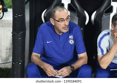 Thessaloniki, Greece - September 20, 2018. Chelsea's Coach Maurizio Sarri during an UEFA Europa League soccer match between PAOK FC and Chelsea FC.