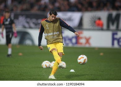 Thessaloniki, Greece - September 20, 2018. Chelsea's striker Alvaro Morata warms up before an UEFA Europa League match between PAOK FC and Chelsea FC.