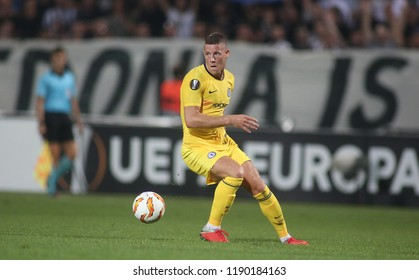 Thessaloniki, Greece - September 20, 2018. Chealsea's midfielder Ross Barkley in action during an UEFA Europa League match between PAOK FC and Chelsea FC.