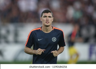 Thessaloniki, Greece - September 20, 2018. Chelsea's defender Andreas Christensen warms up before an UEFA Europa League match between PAOK FC and Chelsea FC.