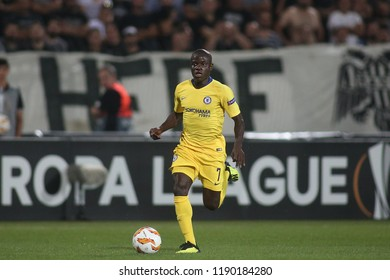 Thessaloniki, Greece - September 20, 2018. Chelseas Midfielder N'Golo Kante in action during an UEFA Europa League match between PAOK FC and Chelsea FC.